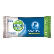Jabón Tocador Antibacterial Espadol Dettol Active Deo 90g 3un