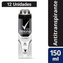 Antitranspirante Rexona Invisible Aerosol 150ml x 12un