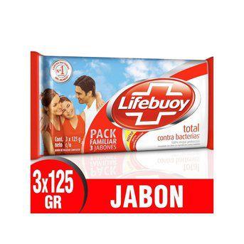 Jabón Lifebuoy Total Antibacterial x 3un 125g c/u