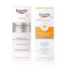 Kit Eucerin Hyaluron-Filler Día Piel Normal a Mixta 50ml + Sun Fluido Antiedad FPS 50 50ml
