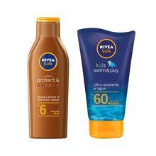Kit Nivea Sun Intense & Bronze Fps6 200ml + Sun Kids Swim & Play Fps60