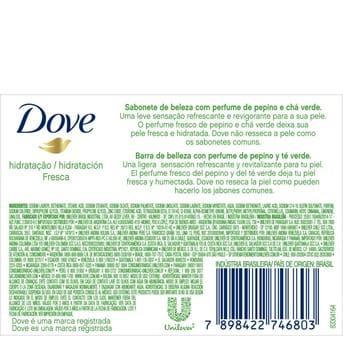 Jabón Pastilla Individual Dove Pepino Hidratación Fresca 90g